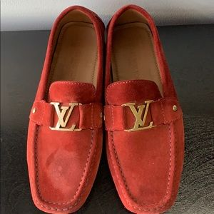 Louis Vuitton Shoes - Louis Vuitton Red Suede Loafers